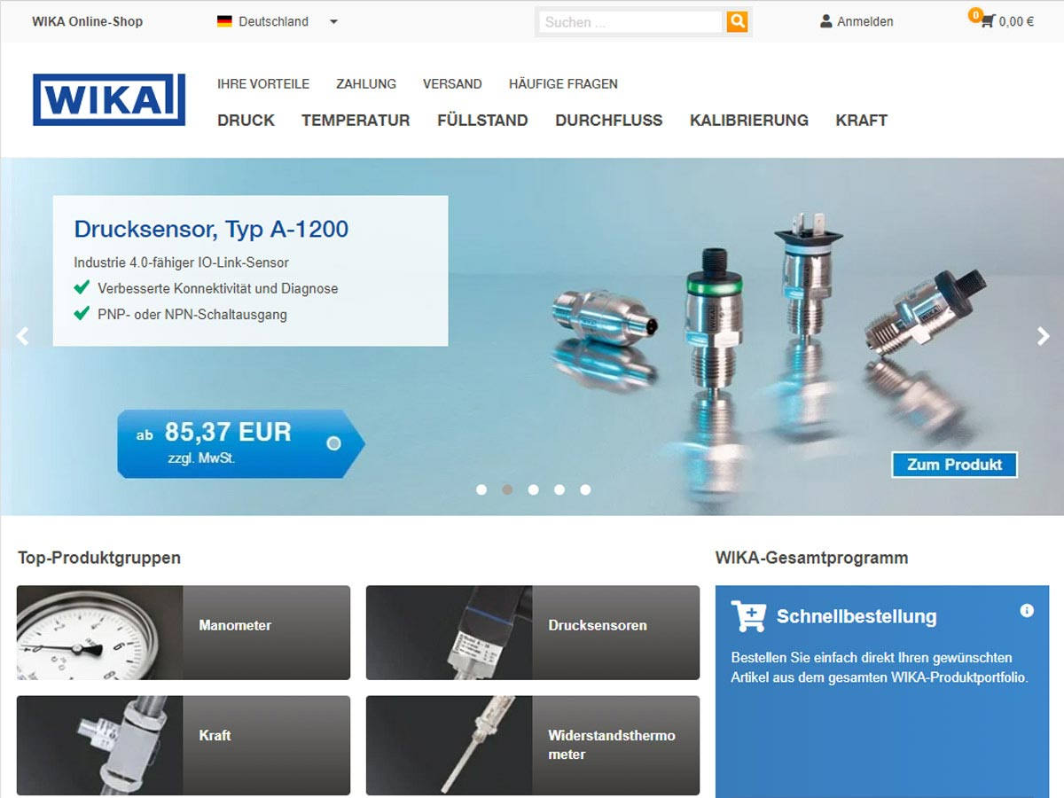 Messtechnik direkt bestellen im Wika Online-Shop